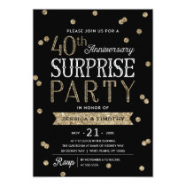 40th Anniversary Glitter Confetti Surprise Party Card