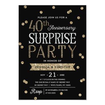 anniversarie 40th Anniversary Glitter Confetti Surprise Party Card