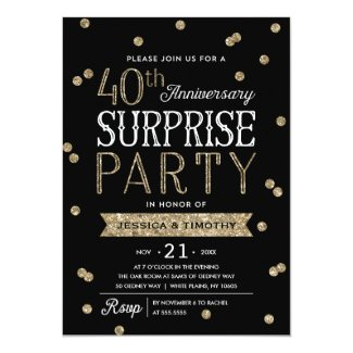 40th Anniversary Glitter Confetti Surprise Party Invitation