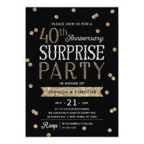 40th Anniversary Glitter Confetti Surprise Party Invitation