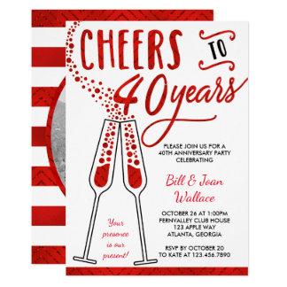 40th Anniversary Invitation, Faux Glitter/Foil Invitation