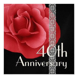 40th Anniversary Invitation - RED Rose Silver Lace