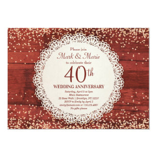 40th Anniversary Invitation Red Ruby Anniversary