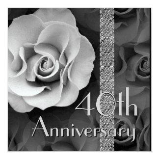 40th Anniversary Invitation -SILVER Rose