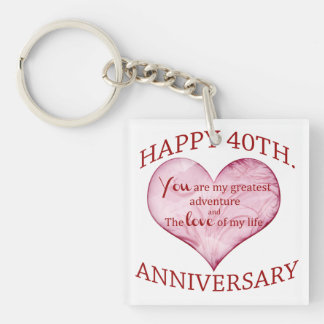 40th. Anniversary Single-Sided Square Acrylic Keychain