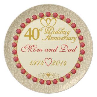 40th Anniversary Mom & Dad Display Plate