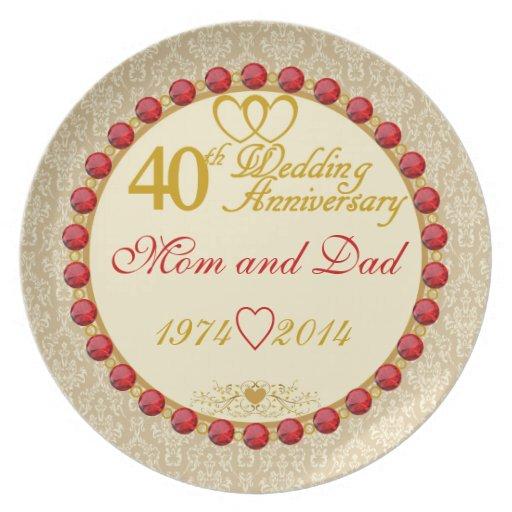 40th Anniversary Mom & Dad Display Plate Zazzle