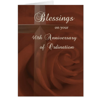 40th Anniversary of  Ordination, Red Rose and Cros Card