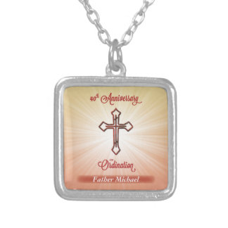 40th Anniversary of Ordination, Square Gift Silver Plated Necklace