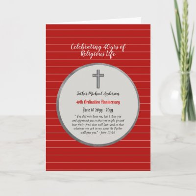 40th Anniversary Ordination Priest - ANY Clergy Card