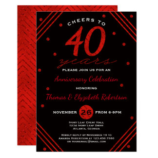 40th Anniversary Party Invitation, Ruby Invitation