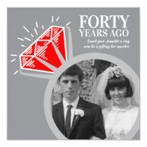 40th anniversary party ruby ring now then photo invitation