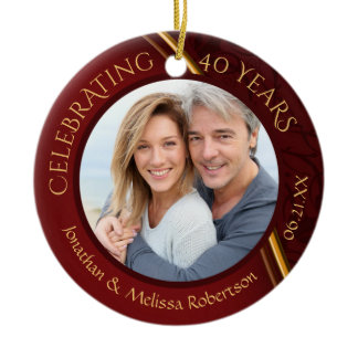 40th Anniversary Photo, Ruby Red and Gold Custom Ceramic Ornament