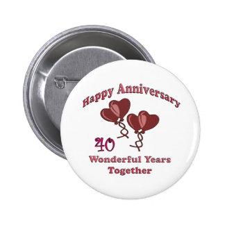 40th. Anniversary Pinback Button