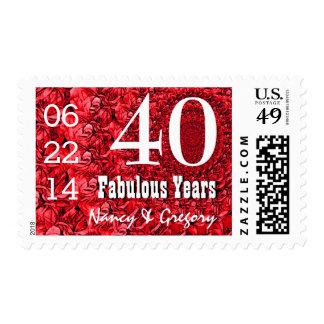 40th Anniversary Red Rose Petals V11 Postage