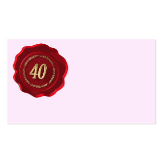 40th anniversary red wax seal business card template