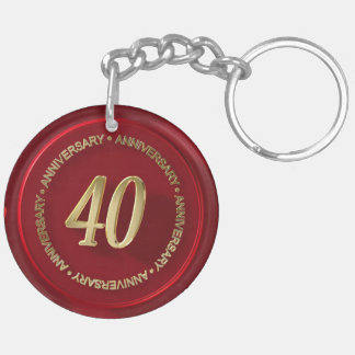40th anniversary red wax seal key chains