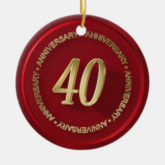 40th anniversary red wax seal ornament