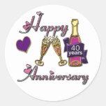 40th. Anniversary Round Stickers