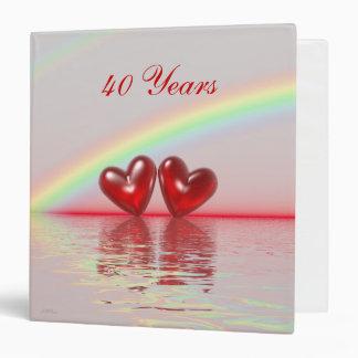40th Anniversary Ruby Hearts 3 Ring Binders