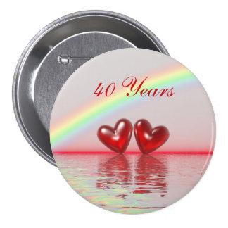 40th Anniversary Ruby Hearts Button
