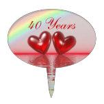 40th Anniversary Ruby Hearts Cake Pick
