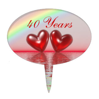 40th Anniversary Ruby Hearts Cake Topper