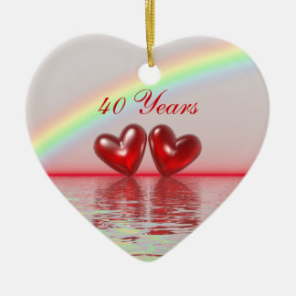40th Anniversary Ruby Hearts Ceramic Ornament