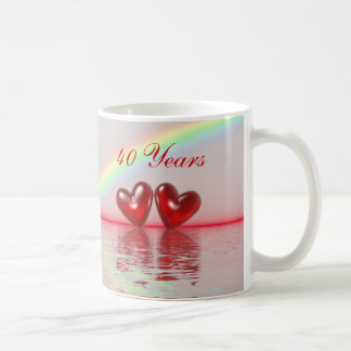 40th Anniversary Ruby Hearts Classic White Coffee Mug