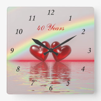 40th Anniversary Ruby Hearts Square Wall Clock
