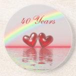 40th Anniversary Ruby Hearts Coaster