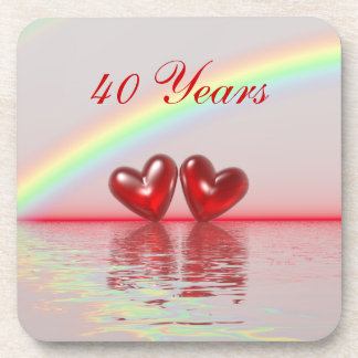 40th Anniversary Ruby Hearts Drink Coasters