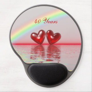 40th Anniversary Ruby Hearts Gel Mouse Pad
