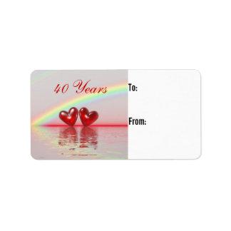 40th Anniversary Ruby Hearts Gift Tag Custom Address Label