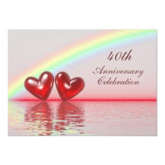 40th Anniversary Ruby Hearts 5x7 Paper Invitation Card
