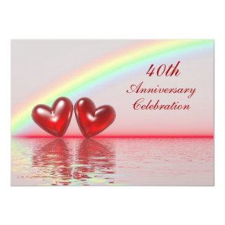 40th Anniversary Ruby Hearts Invitation