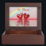 "40th Anniversary Ruby Hearts Keepsake Box<br><div class=""desc"">2 ruby red hearts floating on the water under a rainbow. Customizable text says &quot;40 Years&quot;.</div>"