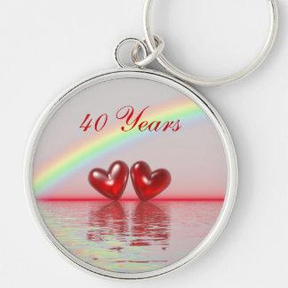 40th Anniversary Ruby Hearts Key Chains