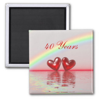 40th Anniversary Ruby Hearts 2 Inch Square Magnet