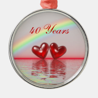40th Anniversary Ruby Hearts Metal Ornament