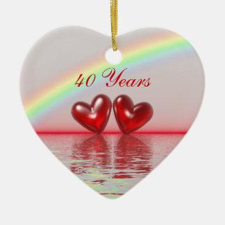 40th Anniversary Ruby Hearts Christmas Ornaments