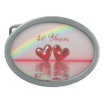 40th Anniversary Ruby Hearts Oval Belt Buckles