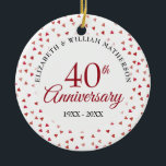"""40th Anniversary Ruby Hearts Photo Ceramic Ornament<br><div class=""""desc"""">Designed to coordinate with our 40th Anniversary Ruby Hearts collection. Featuring delicate ruby hearts. Personalise with your special forty years ruby anniversary information in chic lettering and your photo on the reverse. Designed by Thisisnotme©</div>"""