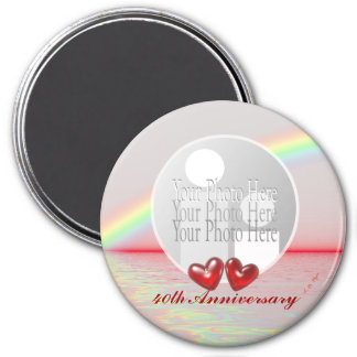 40th Anniversary Ruby Hearts (photo frame) Necklac 3 Inch Round Magnet