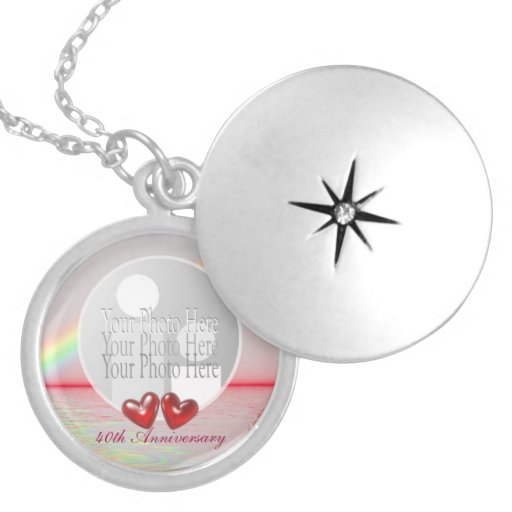 40th Anniversary Ruby Hearts (photo frame) Round Locket Necklace