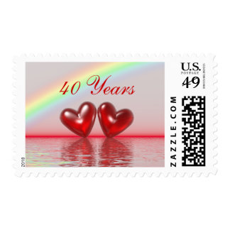 40th Anniversary Ruby Hearts Postage
