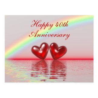 40th Anniversary Ruby Hearts Postcard
