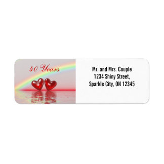 40th Anniversary Ruby Hearts Return Address Label