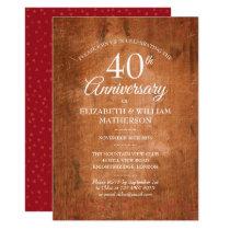 40th Anniversary Ruby Hearts Rustic Vintage Wood Invitation