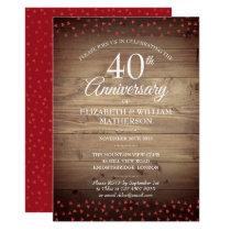 40th Anniversary Ruby Hearts Rustic Wood Invitation